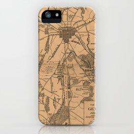 Vintage Map of The Gettysburg Battlefield (1863) 4 iPhone Case