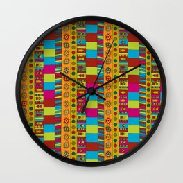 Abstract hand drawn Ethno design  in vivid colours. Wall Clock
