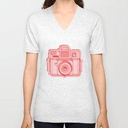 I Still Shoot Film Holga Logo - Reversed Red Unisex V-Neck