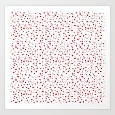 PolkaDots-Red on White Art Print