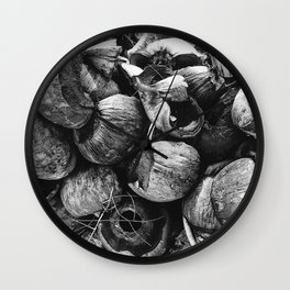 Coconut Shell Black and White Wall Clock
