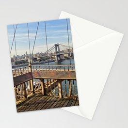 Manhattan bridge from Brooklyn Bridge day view Stationery Cards