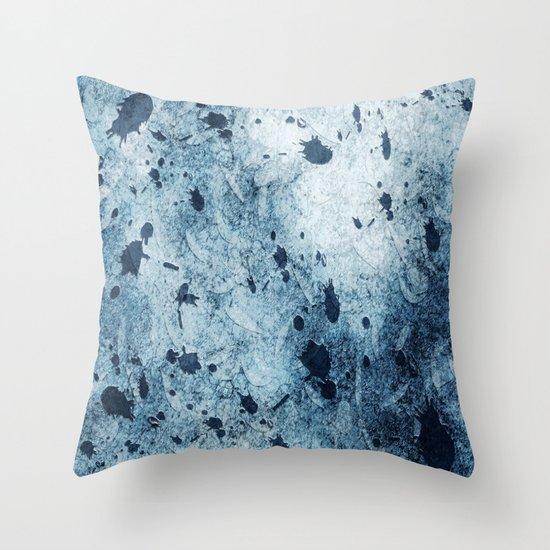 Water Blue Splatter Throw Pillow