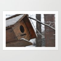 Winter Birdhouse  Art Print