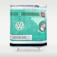 volkswagen Shower Curtains featuring Adventure wolkswagen. Summer dreams. Green by Guido Montañés