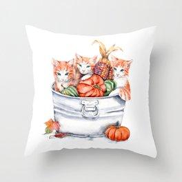 Harvest Kittens Throw Pillow