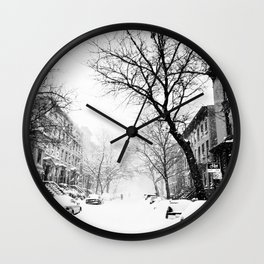 New York City At Snow Time Black and White Wall Clock
