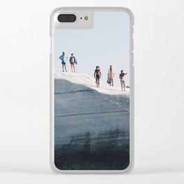 Tiny people on rocky cliff in Sarakiniko, Milos Greece Clear iPhone Case
