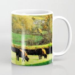 Black Sheep Grazing in Evening Sunshine in Lake District, UK Watercolor Coffee Mug