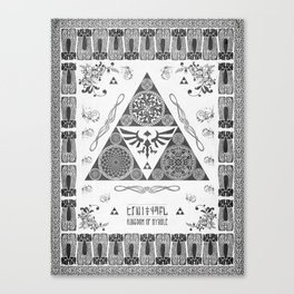 Legend of Zelda Kingdom of Hyrule Crest Letterpress Vector Art Canvas Print