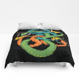 space snakes love pizzsssa Comforters