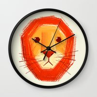 lion Wall Clocks featuring Sad lion by Lime