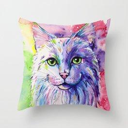 Not so white cat Throw Pillow