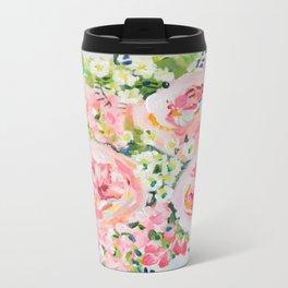 Cottage chic pink peony bouquet Metal Travel Mug