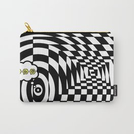 optical visual illusion thinking cloud of black and white chess board tunnel op art  Carry-All Pouch