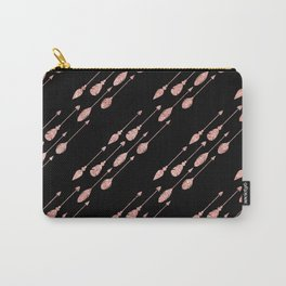 Elegant chic black pink faux glitter arrows feathers Carry-All Pouch