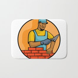 African American Bricklayer Mascot Bath Mat
