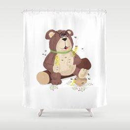 Greedy bear Shower Curtain