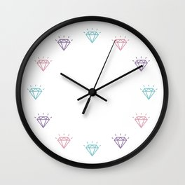 Colourful Diamond Pattern Wall Clock
