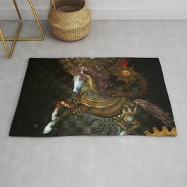 Steampunk,mystical steampunk unicorn Rug
