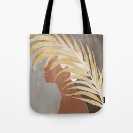 Woman with Golden Palm Leaf Tote Bag
