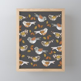 Graphic Birch Bark Birds and Fall Leaves Smokey Grey Stripe Framed Mini Art Print