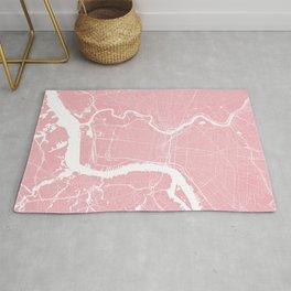 Philadelphia, PA, City Map - Pink Rug