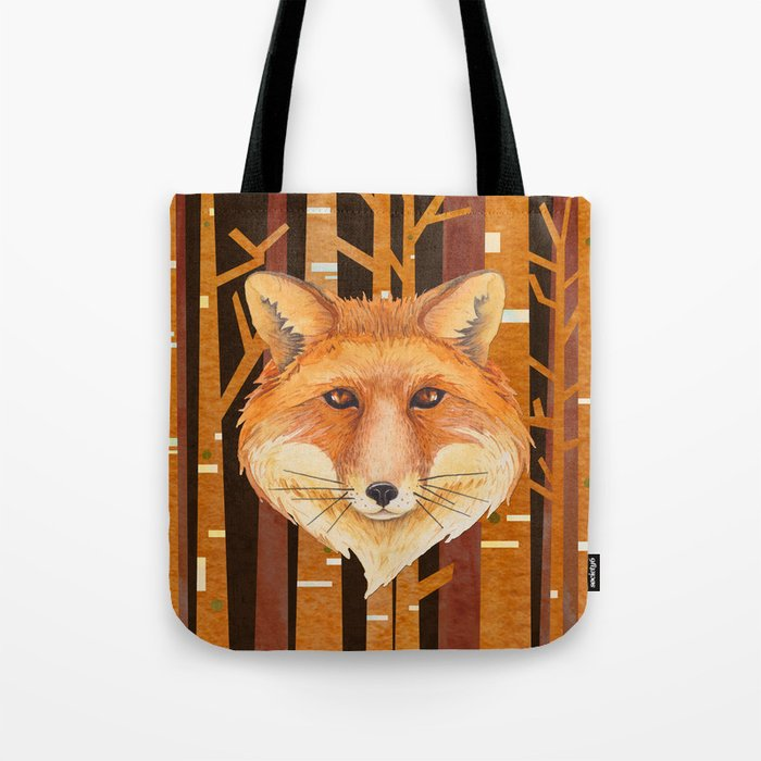 Fox Wild animal in the forest- abstract artwork #Society6 Tote Bag