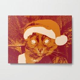 """Smokey Claus"" - Stylized Santa Claus Cat Metal Print"