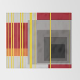 Stripes and squares in red - orange - grey - black Throw Blanket