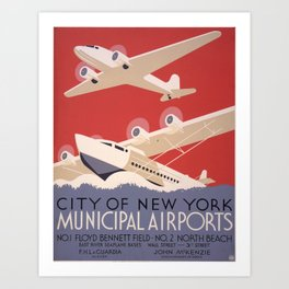 City of New York Municipal Airports - Vintage New York Travel Poster Art Print