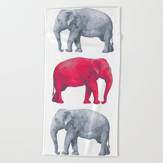 Elephants Red II Beach Towel