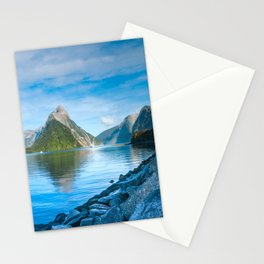 Serene Morning at Milford Sound Stationery Cards