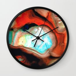 Red Abstract Modern Art - Cocoon - Sharon Cummings Wall Clock