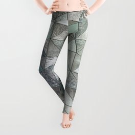Teal And Grey Triangles Stained Glass Style Leggings