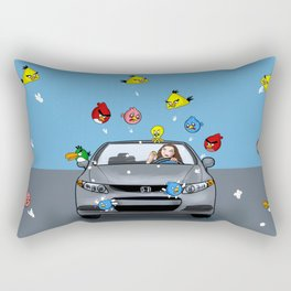 Angry Birds Attack a recently washed car. Rectangular Pillow