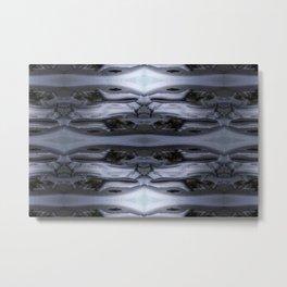 Gray Lattice with Stone Texture Metal Print