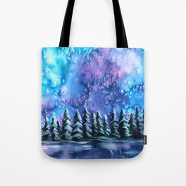 Watercolor Winter Pines under the Northern Lights Tote Bag
