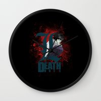 death note Wall Clocks featuring Death Note by feimyconcepts05