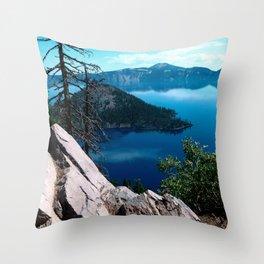 Volcano Deep Blue Crater Lake Oregon USA Throw Pillow