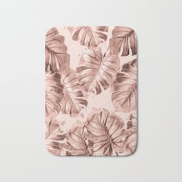 Rose Gold Monstera Leaves on Blush Pink 2 Bath Mat