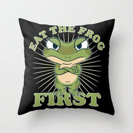 """Eat The Frog First"" Comic Don't postponeTo Dos Throw Pillow"