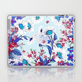 Cool blue floral garland texture Laptop & iPad Skin