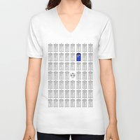 tardis V-neck T-shirts featuring Tardis by Megan Twisted