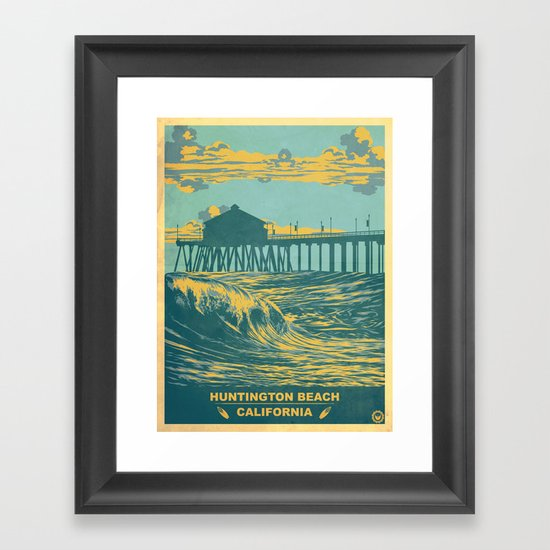 Huntington Beach Wall Decor : Vintage huntington beach poster framed art print by jon