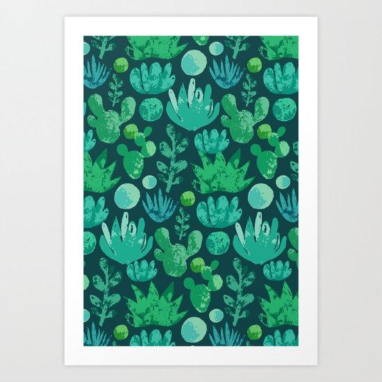 Watercolor succulents and cactus Art Print