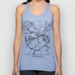 FLORENCE ITALY BLACK CITY STREET MAP ART Unisex Tank Top