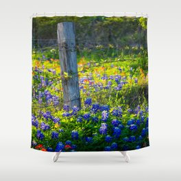Country Living - Fence Post and Vines Among Bluebonnets and Indian Paintbrush Wildflowers Shower Curtain