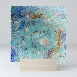 Blue Square and planet Mini Art Print