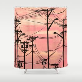 Industrial poles peach Shower Curtain
